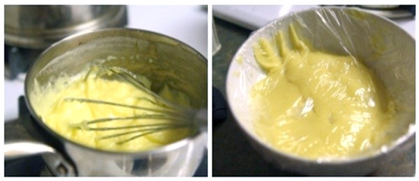 سمت راستی خمیر بریزه پیش از افزودن آب و دومی خمیر بریزه آماده شده برای پخت تارت