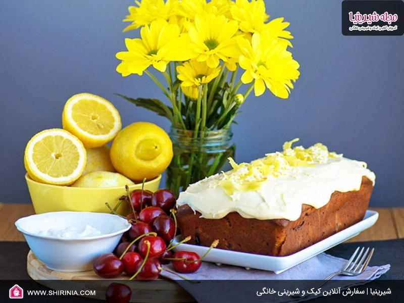 طرز تهیه کیک لیمو با باترکریم آلبالو